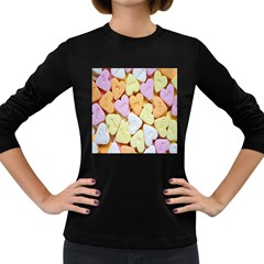 Candy Pattern Women s Long Sleeve Dark T Shirts