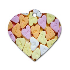 Candy Pattern Dog Tag Heart (one Side)