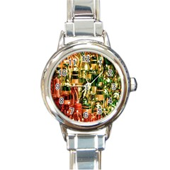 Candles Christmas Market Colors Round Italian Charm Watch