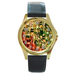 Candles Christmas Market Colors Round Gold Metal Watch