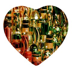 Candles Christmas Market Colors Heart Ornament (Two Sides)