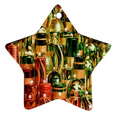 Candles Christmas Market Colors Star Ornament (Two Sides)