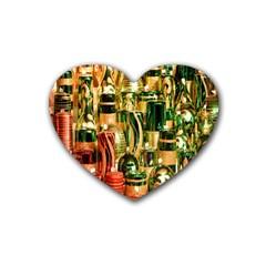 Candles Christmas Market Colors Rubber Coaster (Heart)