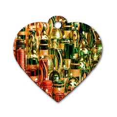 Candles Christmas Market Colors Dog Tag Heart (Two Sides)