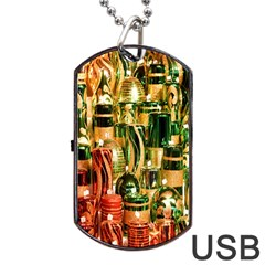 Candles Christmas Market Colors Dog Tag USB Flash (One Side)