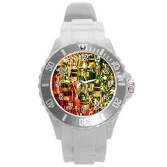 Candles Christmas Market Colors Round Plastic Sport Watch (l)