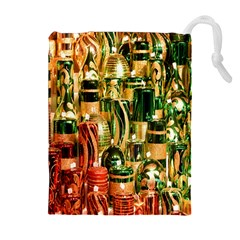 Candles Christmas Market Colors Drawstring Pouches (Extra Large)