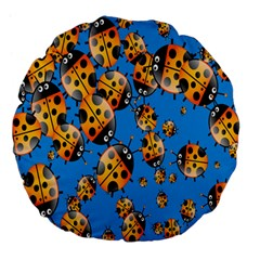 Cartoon Ladybug Large 18  Premium Flano Round Cushions