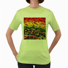 Car Painting Modern Art Women s Green T-Shirt