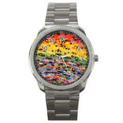 Car Painting Modern Art Sport Metal Watch