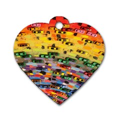 Car Painting Modern Art Dog Tag Heart (two Sides)