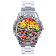 Car Painting Modern Art Stainless Steel Analogue Watch