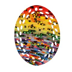 Car Painting Modern Art Oval Filigree Ornament (Two Sides)