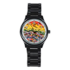 Car Painting Modern Art Stainless Steel Round Watch