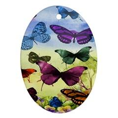 Butterfly Painting Art Graphic Ornament (Oval)