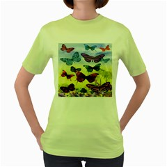 Butterfly Painting Art Graphic Women s Green T-Shirt