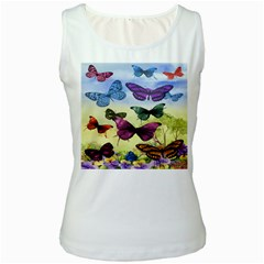 Butterfly Painting Art Graphic Women s White Tank Top
