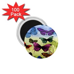 Butterfly Painting Art Graphic 1.75  Magnets (100 pack)