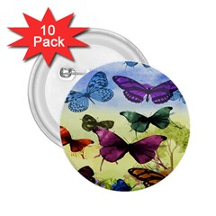 Butterfly Painting Art Graphic 2.25  Buttons (10 pack)