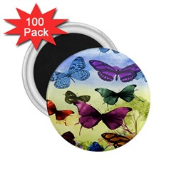 Butterfly Painting Art Graphic 2.25  Magnets (100 pack)
