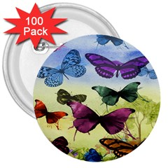 Butterfly Painting Art Graphic 3  Buttons (100 pack)