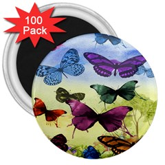 Butterfly Painting Art Graphic 3  Magnets (100 pack)