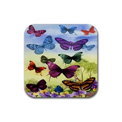 Butterfly Painting Art Graphic Rubber Coaster (square)