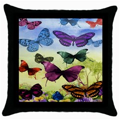 Butterfly Painting Art Graphic Throw Pillow Case (black)
