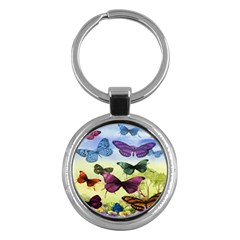 Butterfly Painting Art Graphic Key Chains (Round)