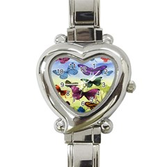 Butterfly Painting Art Graphic Heart Italian Charm Watch