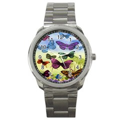 Butterfly Painting Art Graphic Sport Metal Watch