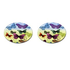 Butterfly Painting Art Graphic Cufflinks (Oval)