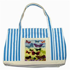 Butterfly Painting Art Graphic Striped Blue Tote Bag