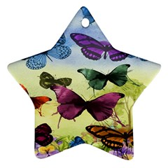 Butterfly Painting Art Graphic Star Ornament (Two Sides)