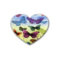 Butterfly Painting Art Graphic Rubber Coaster (Heart)