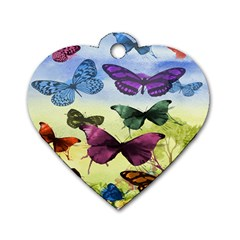 Butterfly Painting Art Graphic Dog Tag Heart (Two Sides)
