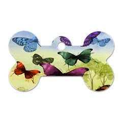 Butterfly Painting Art Graphic Dog Tag Bone (One Side)