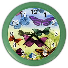Butterfly Painting Art Graphic Color Wall Clocks