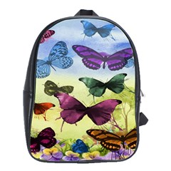 Butterfly Painting Art Graphic School Bags(Large)