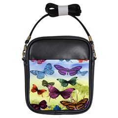Butterfly Painting Art Graphic Girls Sling Bags