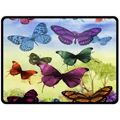 Butterfly Painting Art Graphic Fleece Blanket (Large)