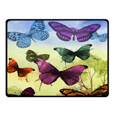Butterfly Painting Art Graphic Fleece Blanket (Small)