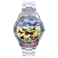 Butterfly Painting Art Graphic Stainless Steel Analogue Watch