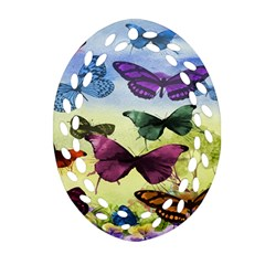 Butterfly Painting Art Graphic Ornament (Oval Filigree)