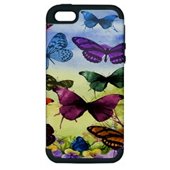 Butterfly Painting Art Graphic Apple Iphone 5 Hardshell Case (pc+silicone)