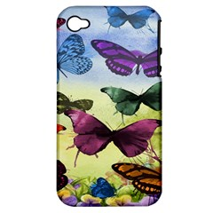 Butterfly Painting Art Graphic Apple iPhone 4/4S Hardshell Case (PC+Silicone)