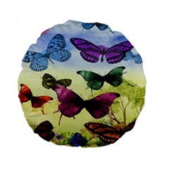 Butterfly Painting Art Graphic Standard 15  Premium Round Cushions