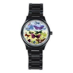Butterfly Painting Art Graphic Stainless Steel Round Watch