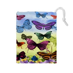 Butterfly Painting Art Graphic Drawstring Pouches (large)
