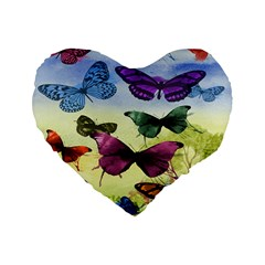 Butterfly Painting Art Graphic Standard 16  Premium Flano Heart Shape Cushions
